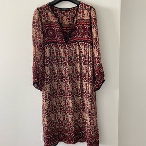 Zara midi length boho print dress size small